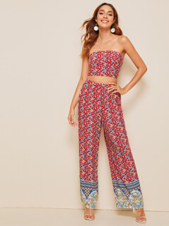 Ditsy Floral Print Tube Top & Wide Leg Pants Set