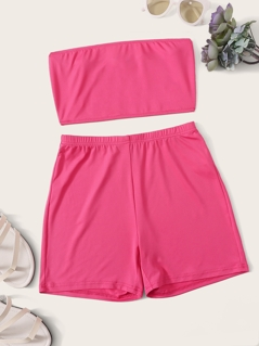 Solid Bandeau Top and Cycling Shorts Set