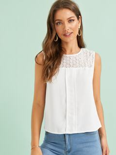 Lace Insert Pleated Front Tank Top