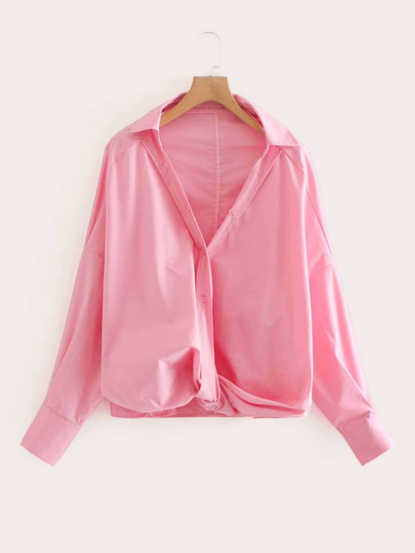 Фото - Однотонная блуза с драпировкой от SheIn розового цвета