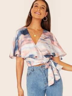 Tie Die Wrap Cape Style Crop V-Neck Blouse