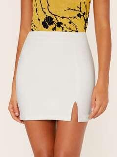 Back Zip Side Slit Mini Pencil Skirt
