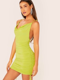 Cowl Neck Tie Straps Ruched Side Neon Mini Dress