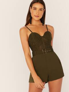 Padded Underwire Lace Bodice Sleeveless Romper