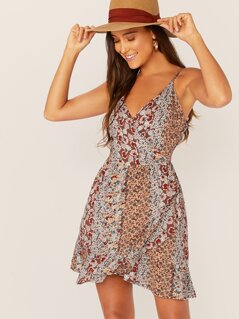 Sleeveless Ruffle Hem Floral Wrap Mini Dress