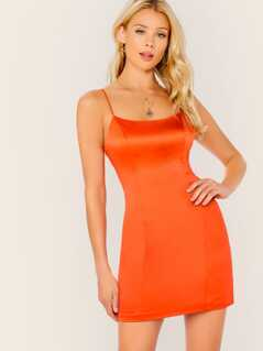 Scoop Neck Satin Sleeveless Back Zip Mini Dress