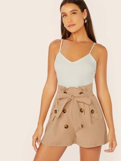 Double Breasted Belted Waist Sleeveless Romper