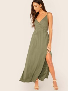 Surplice Neck Slub Knit Side Slit Maxi Tank Dress