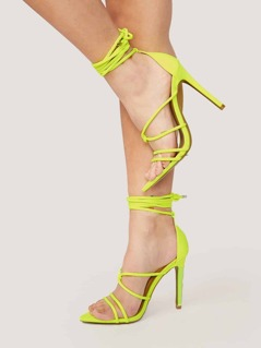 Neon Pointed Sole Strappy Wrap Stiletto Heels