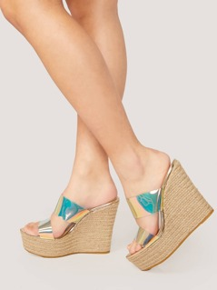 Double Iridescent Band Jute Wrap Platform Wedges