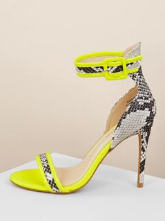 Neon Patent Snakeskin Detail Ankle Strap Heels