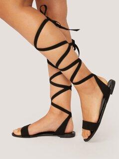 Single Band Open Toe Lace Wrap Flat Sandals