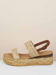 Double Straw Woven Band Flatform Slingback Sandals