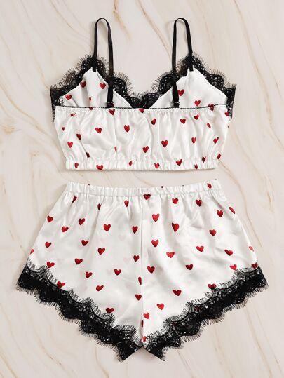 SheIn / Heart Print Eyelash Lace Satin Lingerie Set
