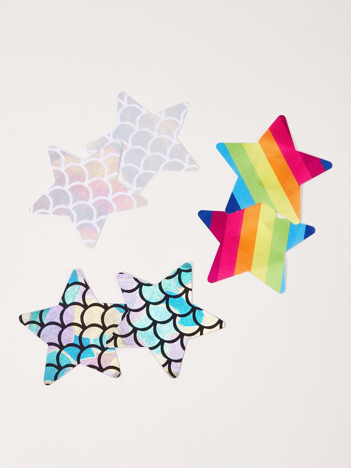 Контрастная обложка для сосков в форме звезды размера плюс 3 пар