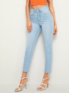 Bleach Wash Crop Carrot Jeans