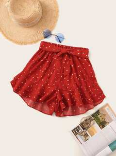 Layered Ruffle Hem Belted Polka Dot Shorts
