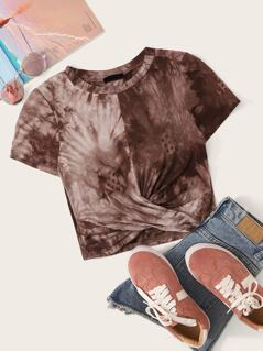 Twist Front Round Neck Tie Dye Top