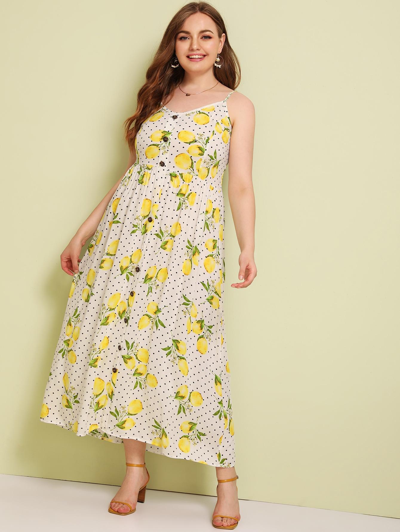 Фото - Платье в горошек размера плюс с лимонным принтом от SheIn цвет многихцветные