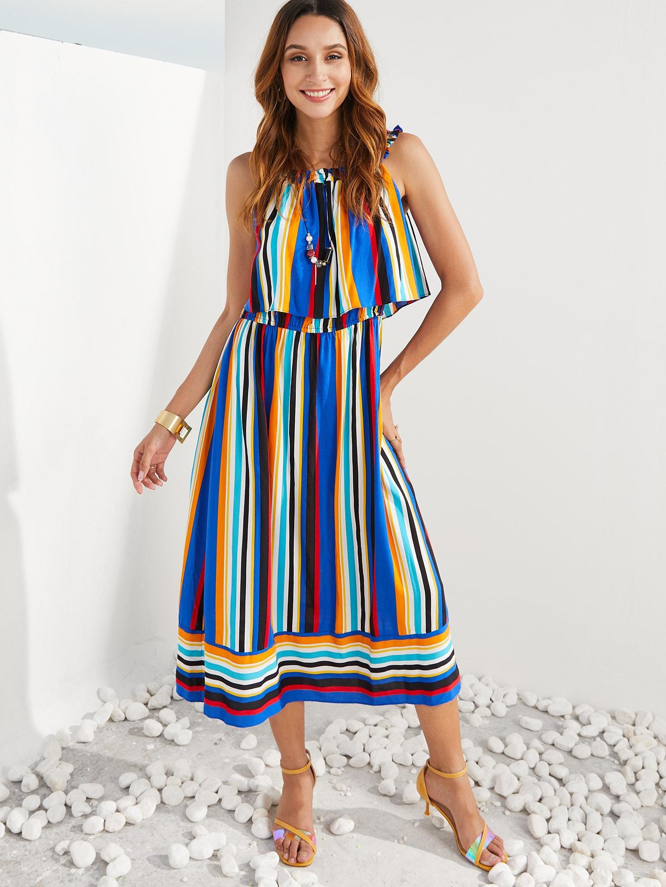 Фото - SBetro радужное полосатое двухслойное платье от SheIn цвет многоцветный