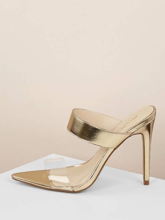 ee2e444bc PVC Band Open Toe Metallic Stiletto Heel Mules | MakeMeChic.COM