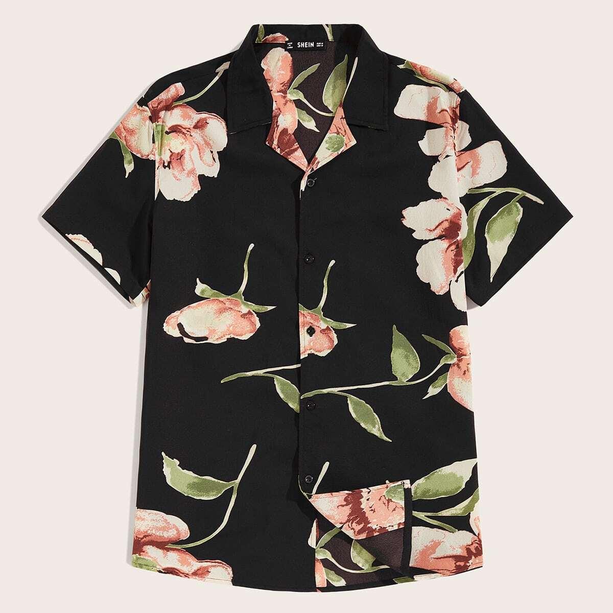 Veel kleurig Casual Bloemen Overhemden voor heren Knoop