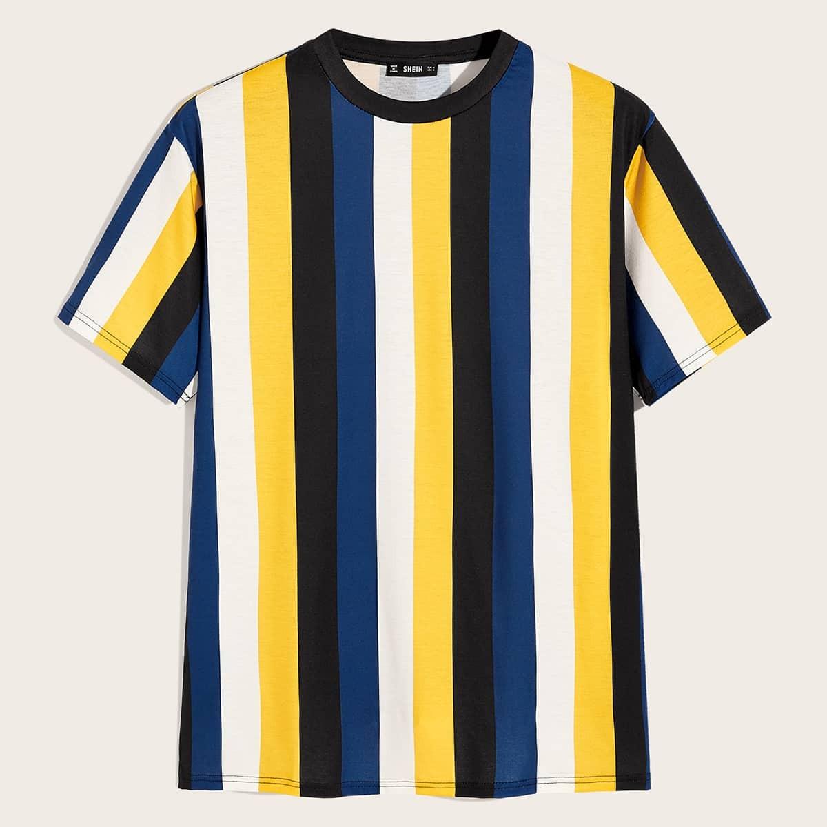 Veel kleurig Casual Gestreept Shirts mannen Kleurblok