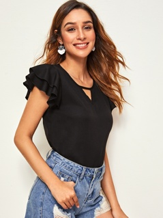 Keyhole Neck Layered Butterfly Sleeve Solid Top