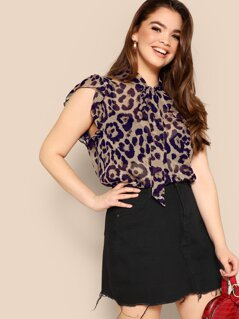 Plus Tie Neck Leopard Semi Sheer Top