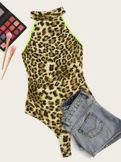Contrast Neon Binding Leopard Halter Bodysuit