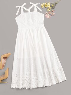 Tie Strap Embroidery Eyelet Hem Dress