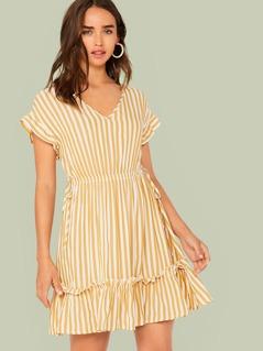 Ruffle Trim Tie Side Striped Dress