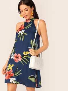 Floral Print Trapeze Halterneck Dress