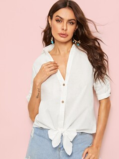 Roll Up Sleeve Knot Hem Shirt
