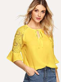Tie Neck Guipure Lace Sleeve Top