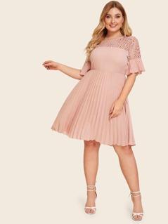 Plus Guipure Lace Shoulder Pleated Dress