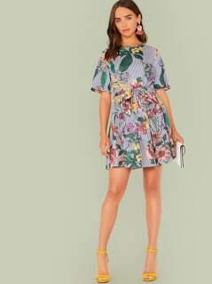 Keyhole Back Floral & Striped Print Belted Dress