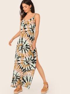 Low Back Tie Dye Split High Cami Dress