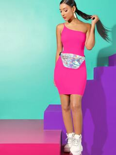 Neon Pink One Shoulder Rib-knit Bodycon Dress