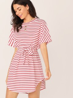 Batwing Sleeve Self Belted Curved Hem Striped Dress