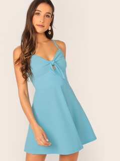 Tie Front Peekaboo Cami Dress