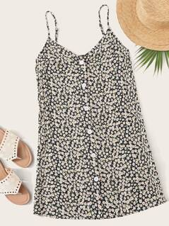 Button Front Ditsy Floral Slip Dress