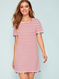 Striped Print Colorful Pompom Hem T-shirt Dress