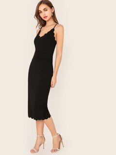 Solid Scallop Trim Bodycon Slip Dress
