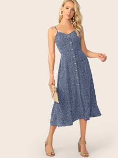 Allover Print Pocket Side Button Front Cami Dress