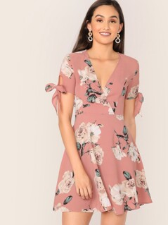 Surplice Neck Knot Cuff Floral Print Flare Dress