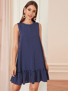 Ruffle Hem Polka Dot Dress