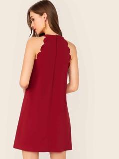 Solid Scallop Trim Trapeze Halterneck Dress