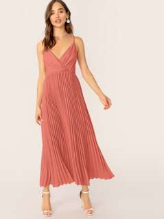 Solid Surplice Neck Pleated Hem Slip Dress