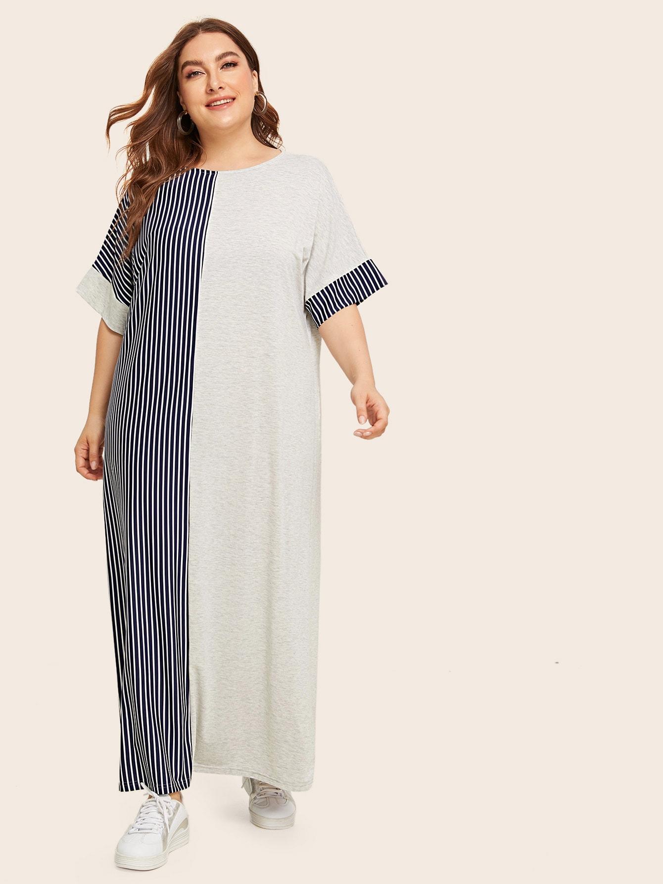 Кроить и шить полосатое платье размера плюс